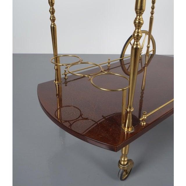 Aldo Tura Adjustable Brown Parchment Brass Bar Cart, 1960 For Sale - Image 9 of 13