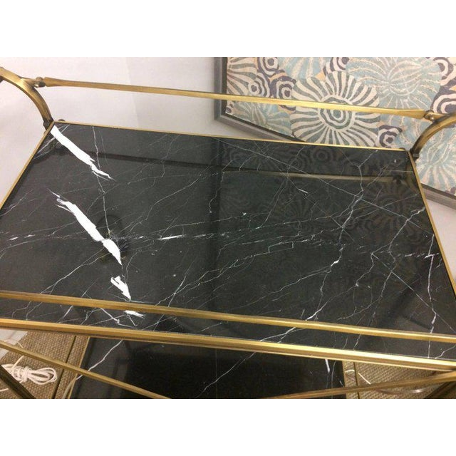 Mid Century Modern Brass & Marble Bar Cart For Sale - Image 5 of 9