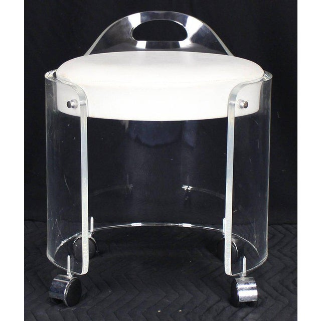 Mid-Century Modern Round Bent Lucite Upholstered Bench Stool on Wheels For Sale - Image 3 of 10