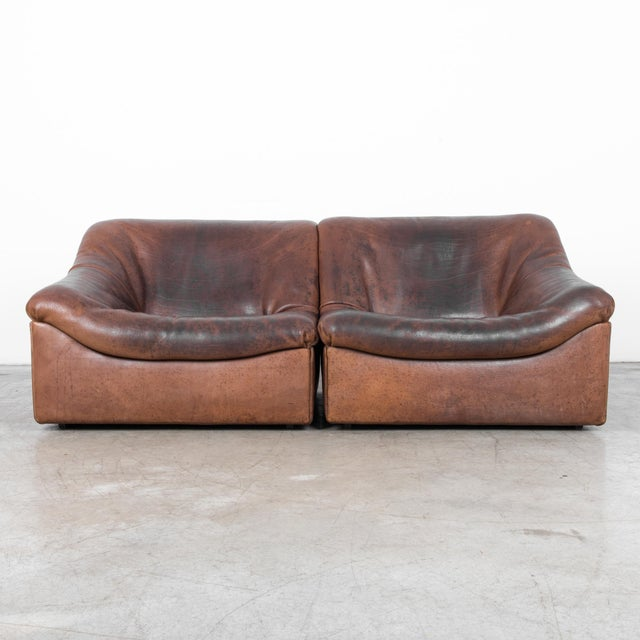 Leather De Sede Ds46 Buffalo Leather Loveseat For Sale - Image 7 of 7