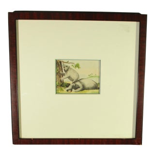 Handcolored Bookplate of Elephants 19th Century For Sale