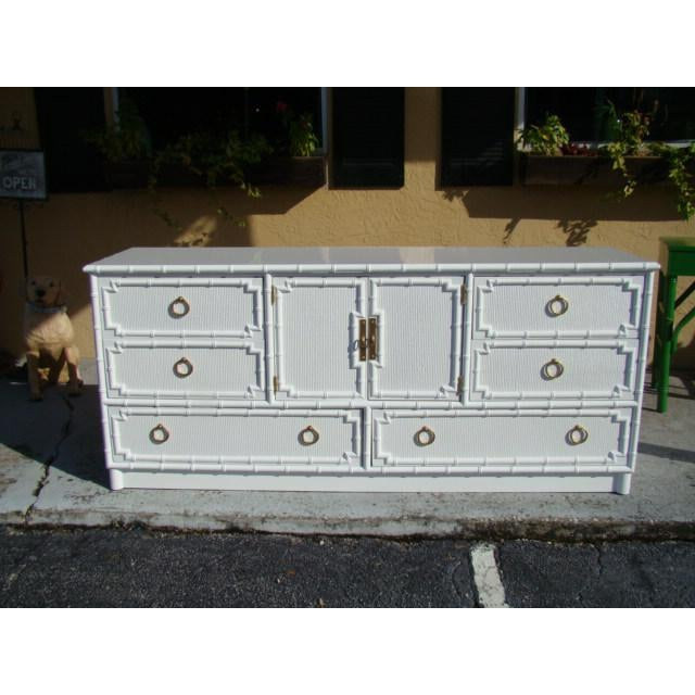 1960s Chinoiserie Bamboo Rattan Long Dresser For Sale In Tampa - Image 6 of 7