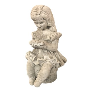 1960s Vintage Cast Stone Girl on a Tuffet Garden Statue For Sale