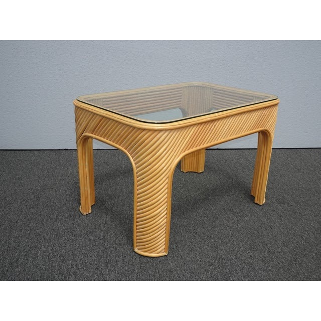 1970s Vintage Mid Century Modern Split Bamboo Rattan Coffee End Table For Sale - Image 5 of 11