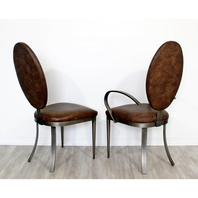 Contemporary Contemporary Modern Dia Brown Leather Aluminum Dining Chairs - Set of 8 For Sale - Image 3 of 5
