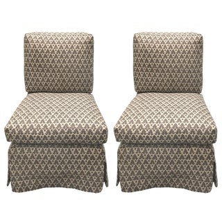 Donghia Billy Baldwin Style Quadrille Upholstered Slipper Chairs - a Pair For Sale
