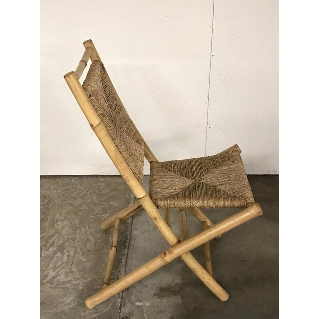 Brown Pair of Faux Bamboo Campaign Chairs in the Manner of Maison Jansen For Sale - Image 8 of 9