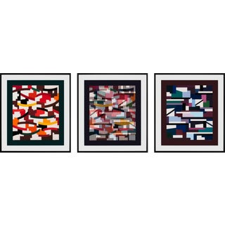 """1979 """"Union"""" Limited Edition Hand-Signed Serigraphs by Yaacov Agam, Framed - Set of 3 For Sale"""