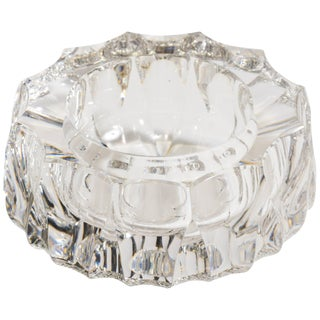 Carved Crystal Glass Ashtray For Sale