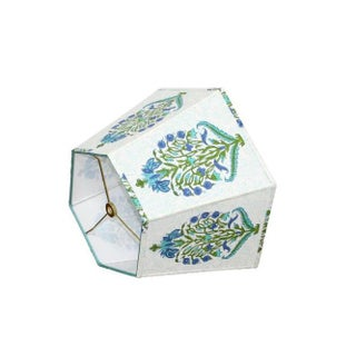 Blue and Green Block Print Lamp Shade Preview