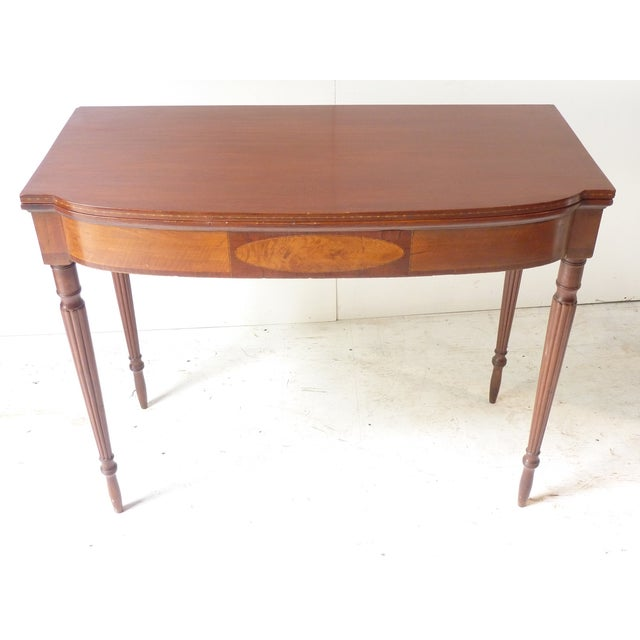 Wood 19th Century Early American Mahogany Demi-Lune Card Table For Sale - Image 7 of 8