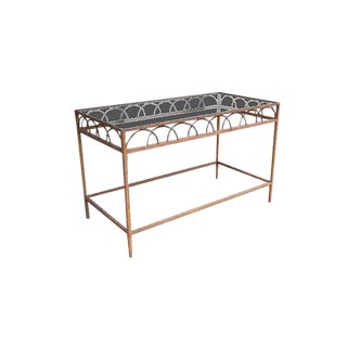 Antique French Iron & Glass Bar Table For Sale