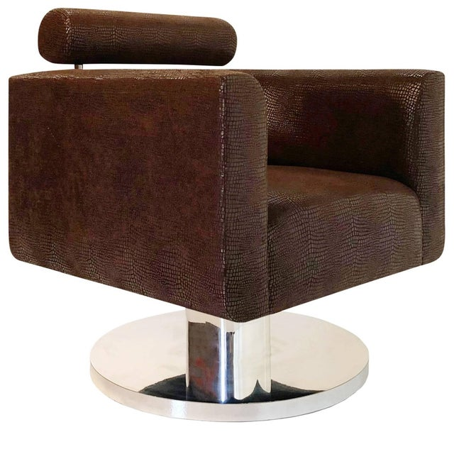 """Luigi Gentile """"Gigi"""" Swivel Lounge Chair for Couture For Sale - Image 10 of 10"""