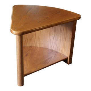 Oak Wedge Round Back Side Table