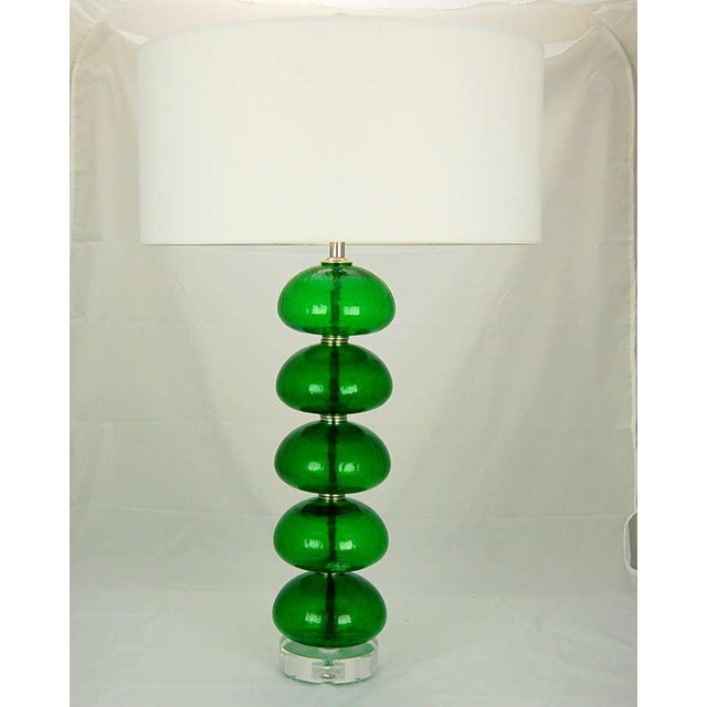 Hollywood Regency Vintage Murano Stacked Font Glass Table Lamps Green For Sale - Image 3 of 7