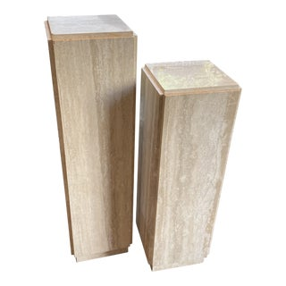 Pair of Travertine Pedestals For Sale