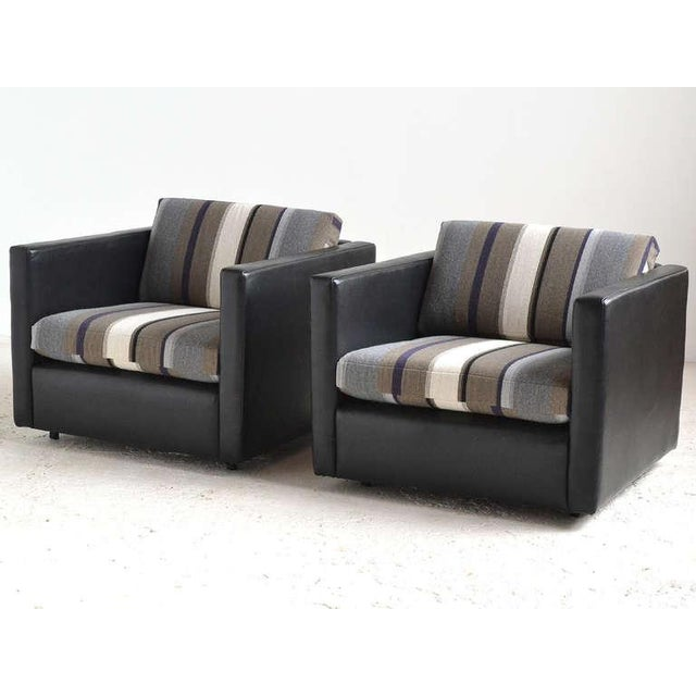 Pair of Pfister Lounge Chairs by Knoll in Leather and Fabric - Image 8 of 8