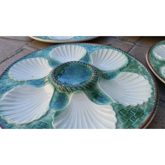 Boho Chic Majolica Oyster Plates - Set of 6 For Sale - Image 3 of 3