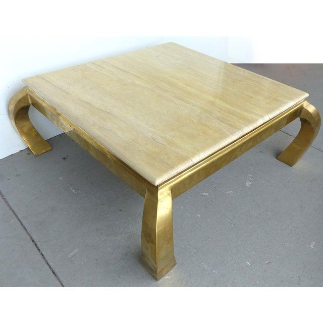 Mid-Century Modern Brass & Travertine Coffee Table - Image 3 of 9
