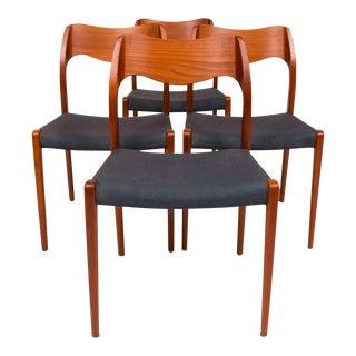 Set of Four Vintage Møller Model 71 Dining Chairs For Sale
