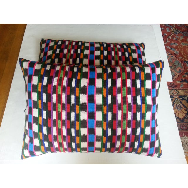 Guatemalan Multi-Plaid Pillows - A Pair - Image 3 of 4