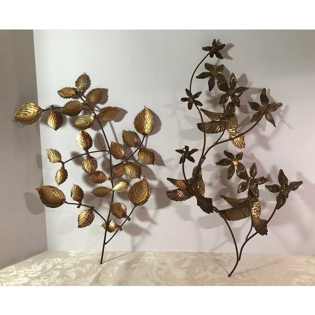 Mid-Century Metal Leaf Wall Art - A Pair For Sale - Image 4 of 9