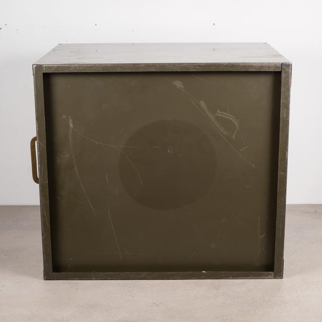 Industrial Factory Two Drawer Cabinet With Brass Pulls C.1940 For Sale - Image 10 of 12