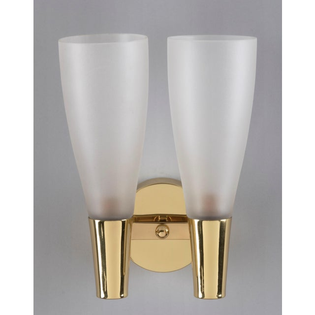 Italian Pair of Modernist Sconces by Pietro Chiesa for Fontana Arte in Bronze and Glass, Italy 1930's For Sale - Image 3 of 8
