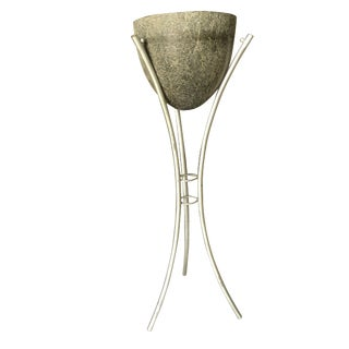 Grey Spun Fiberglass Planter on Silver-Tone Wrought Iron Wire Tripod Base For Sale