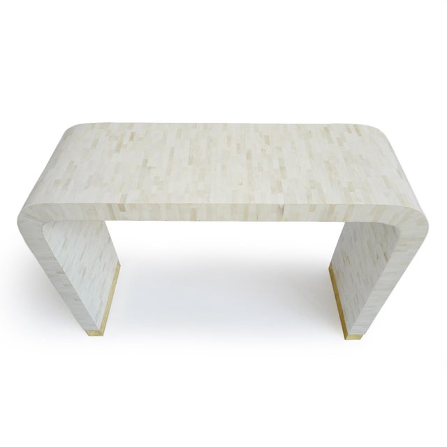 Boho Chic White Inlay Waterfall Console For Sale - Image 3 of 8