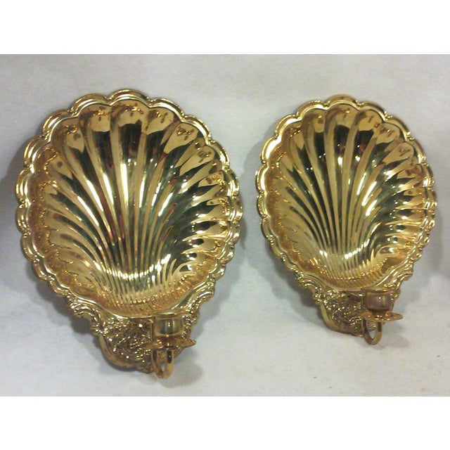 Solid Brass Shell Wall Candle Sconces - A Pair - Image 3 of 8