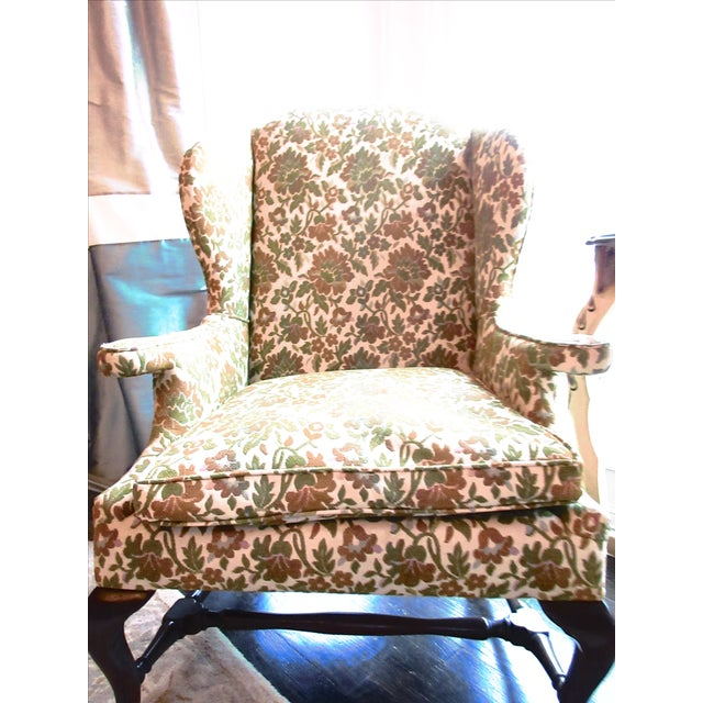 Antique Green & Orange Floral Wing Chair - Image 8 of 8