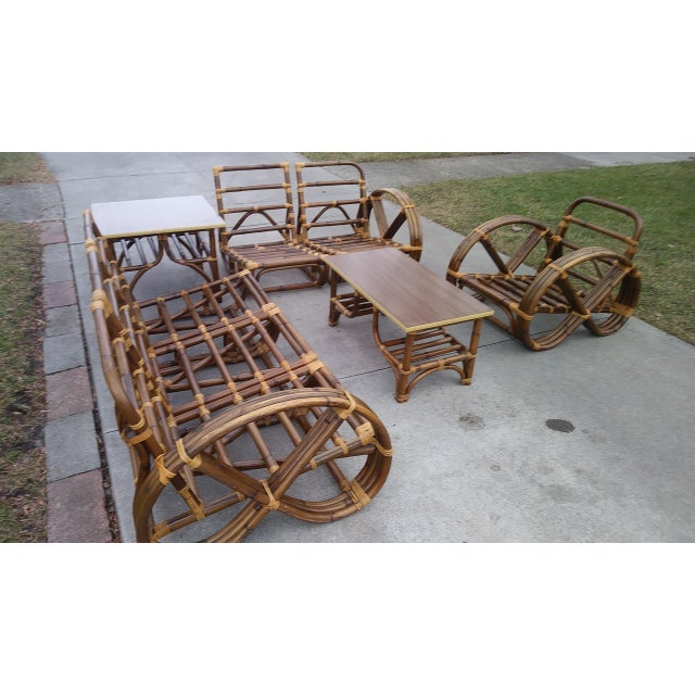 1950s Vintage Mid Century Paul Frankl Style Pretzel Arm Rattan Bamboo Sofa - Set of 5 For Sale - Image 5 of 13