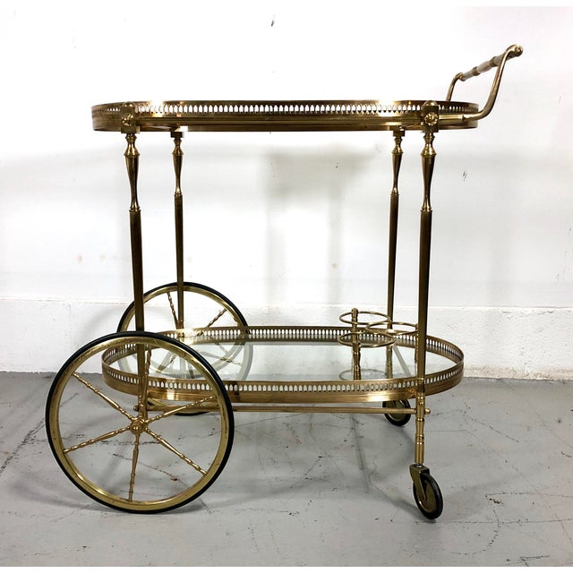 Vintage Maison Jansen Style Brass Bar Cart / Trolley For Sale - Image 13 of 13