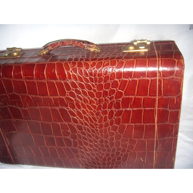 Vintage Towne Faux Alligator Leather Suitcase - Image 5 of 7
