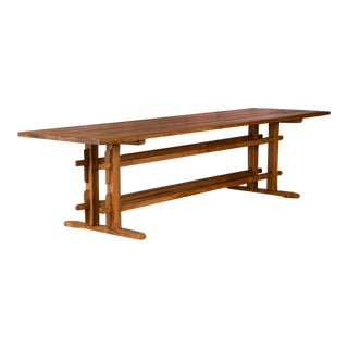 19th Century Rustic Pine Farm Table For Sale