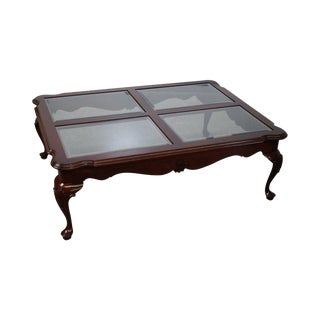 Ethan Allen Georgian Court Cherry Queen Anne Glass Top Coffee Table For Sale