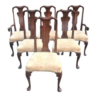 Cherry Queen Anne Style Dining Chairs by Baker - set of 6 For Sale