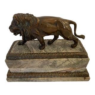 Bronze Lion Sculpture on Marble Base For Sale