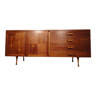 Unique Mid-Century Walnut Server With Burl Wood Inlay For Sale