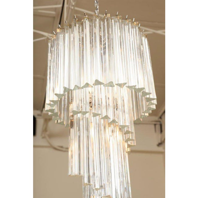 Hollywood Regency Italian Murano Spiral Crystal Glass Prism Chandelier by Venini For Sale - Image 3 of 8