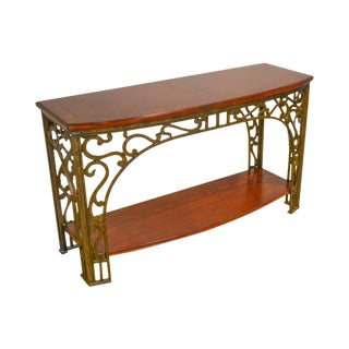 Custom Iron Base Cherry Console Table