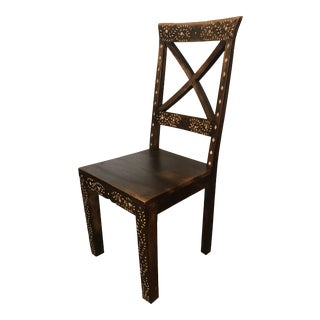 Teak With Bone Inlay Hand-Made Chair For Sale