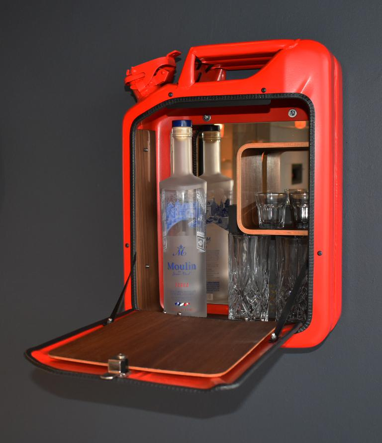 2010s Danish Fuel Red Bar Cabinet For Sale   Image 5 Of 7