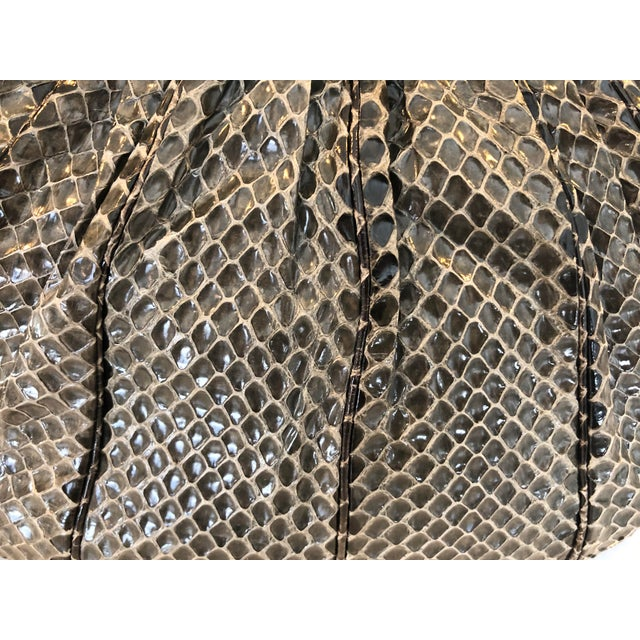 Vintage Judith Leiber Grey Python Clutch With Frog Charm Detail For Sale In New York - Image 6 of 11