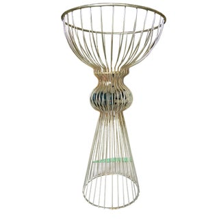 Russell Woodard Style Chrome Hourglass Wire Frame Sculptural Plant Stand For Sale