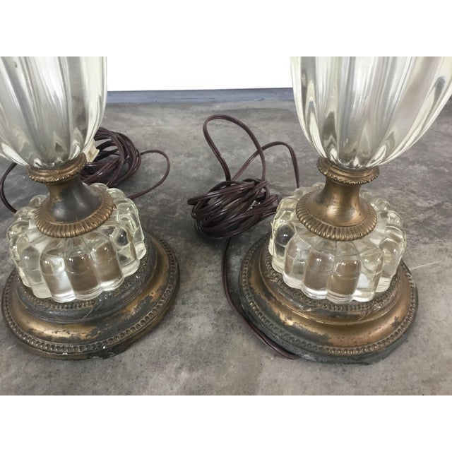 1900s Glass Table Lamps - a Pair For Sale - Image 4 of 10