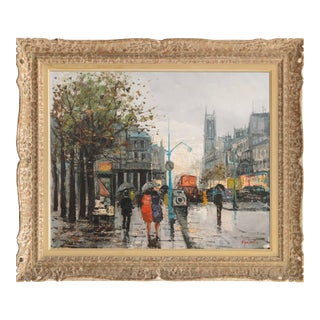 'Paris in the Rain' by Marda; Large Post-Impressionist Oil, French School For Sale