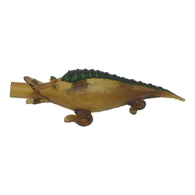 Italian Mid Century Blown Glass Alligator Wine Bottle For Sale