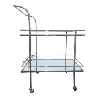 Contemporary Mid Century Style William Sonoma Home Chrome Bar Cart For Sale